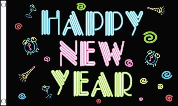 Happy New Year Flag 5ft x 3ft Banner Funky Neon Festive 100% Polyester Flags